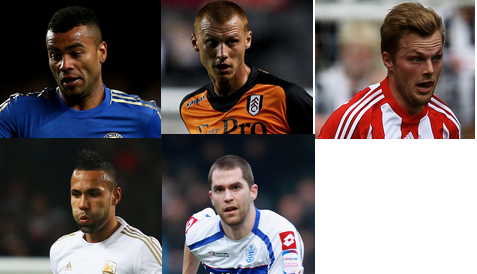 (l-r) Ashley Cole, Steve Sidwell, Sebastian Larsson, Kyle Bartley, Matthew Connolly.