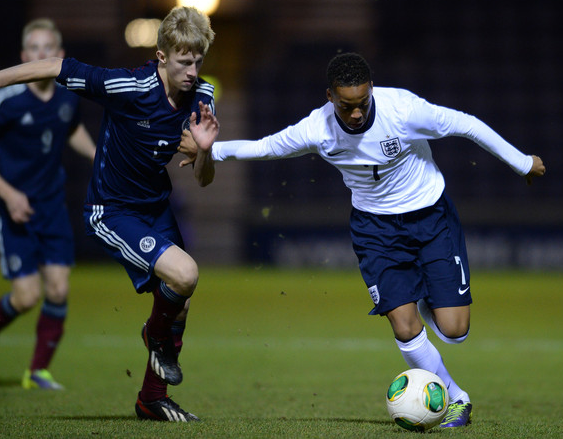 Chris Willock (r) in action for England U16s in the Victory Shield. Source: Mark Runnacles/Getty Images Europe