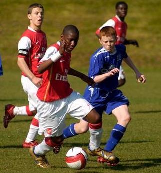 Afobe representing the U16s alongside Jack Wilshere and Emmanuel Frimpong