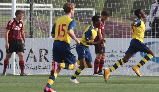 Eddie Nketiah celebrates scoring against AC Milan in today's 3rd Place Play-off